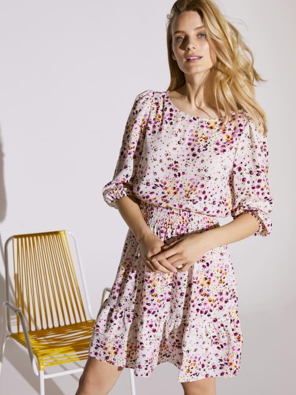 Smocked Waist Floral Dress - Ivory / Pink - Front