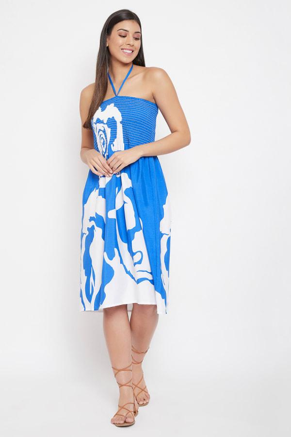 Floral Rose Print Short Tube Dress - Fuchsia - Front