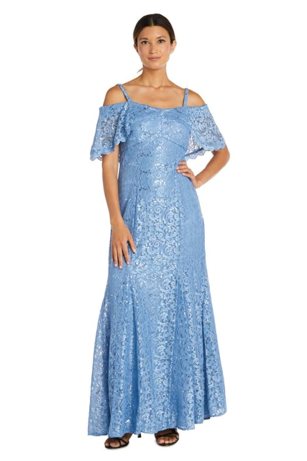Off The Shoulder Glitter Sequin Lace Empire Gown
