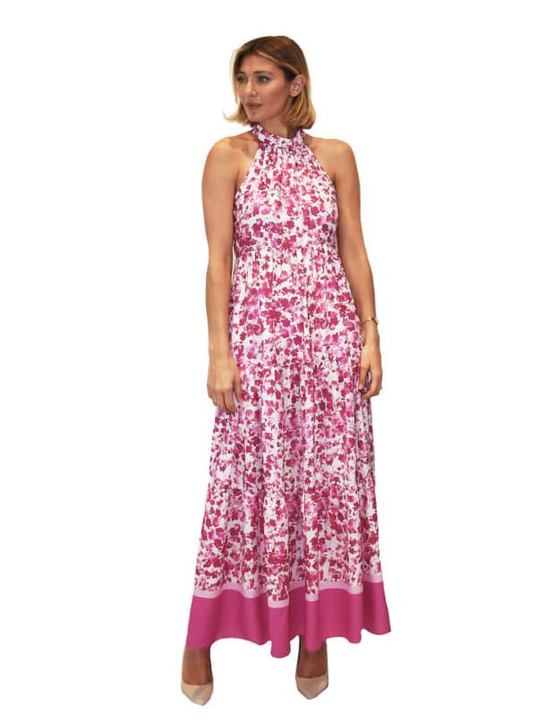 Melonie Hi Neck Border Maxi Dress
