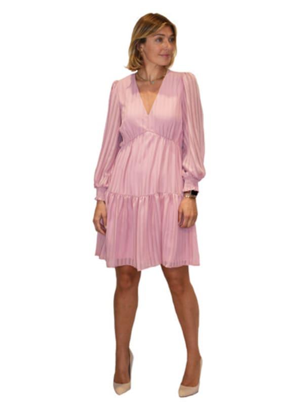 Maison Tara Chiffon Strip Short Dress