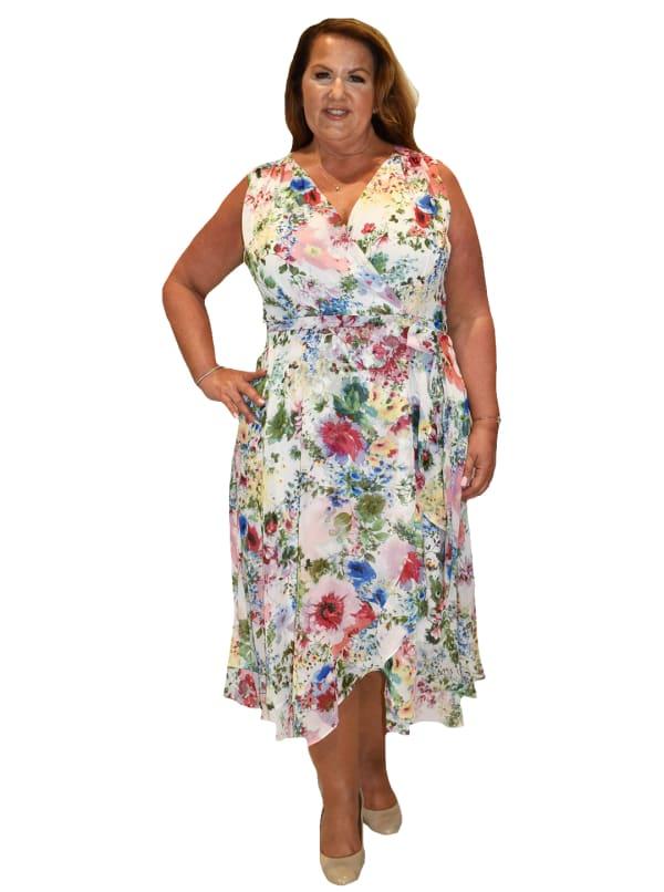 Maison Tara Sleeveless Wrap Dress - Plus