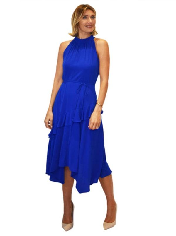 Bleecker 126 Hi Neck Asymmetrical Hem Dress