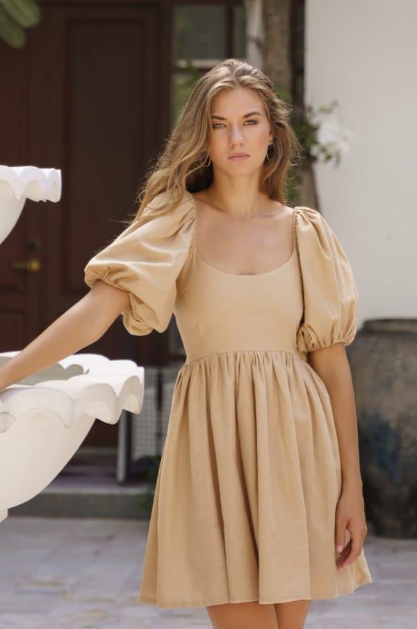 Strawberry Fields  Puff Sleeve Linen Mini Dress - Plus