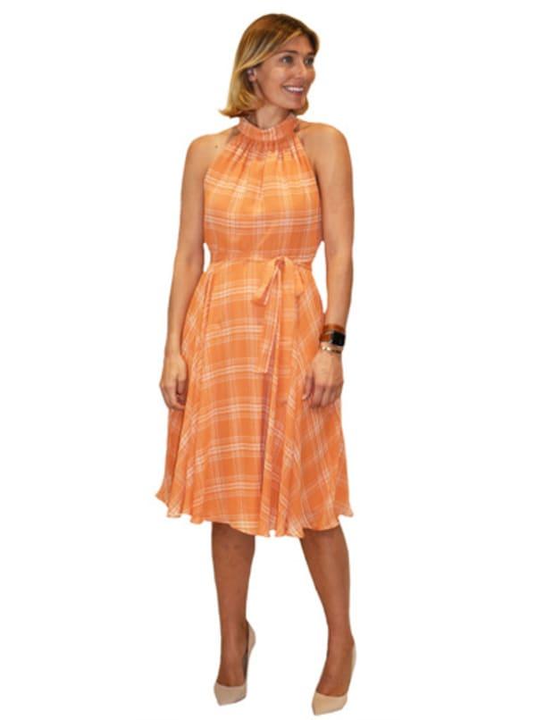 Maison Tara Chiffon Orange Plaid  Dress