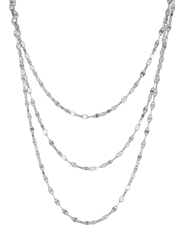 Sterling Silver Triple Row Diamond Cut Chain Necklace