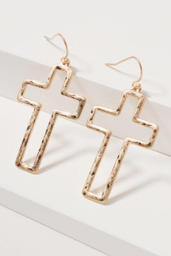 Cross Dangling Metal Earrings