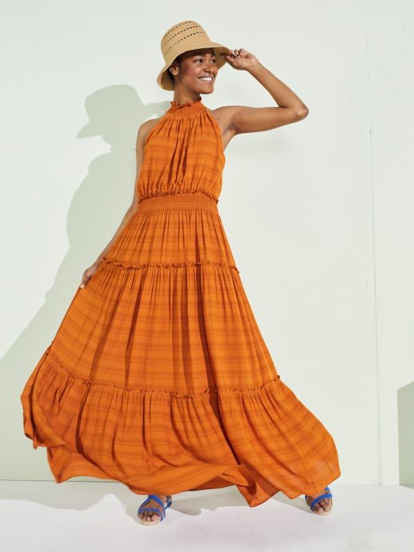 Taylor Cut Away Smocked Maxi Dress