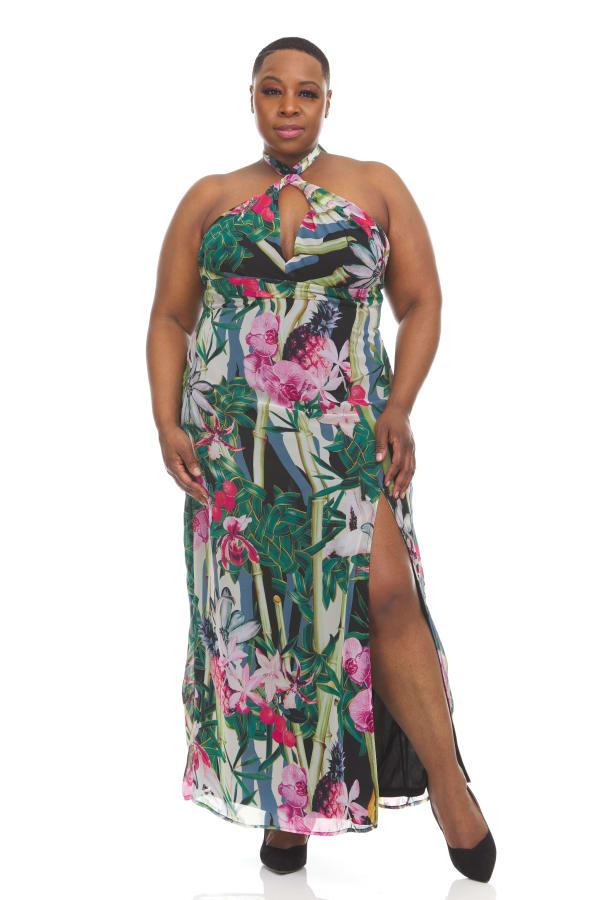 Tropical Print Maxi Dress - Plus