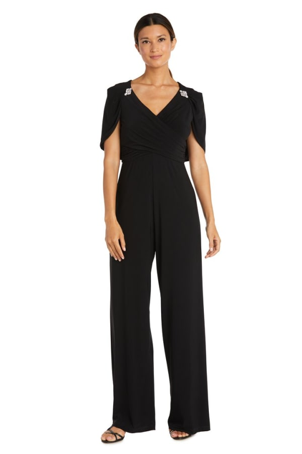 One Piece Jumpsuit with Draped Bodice and Capelet