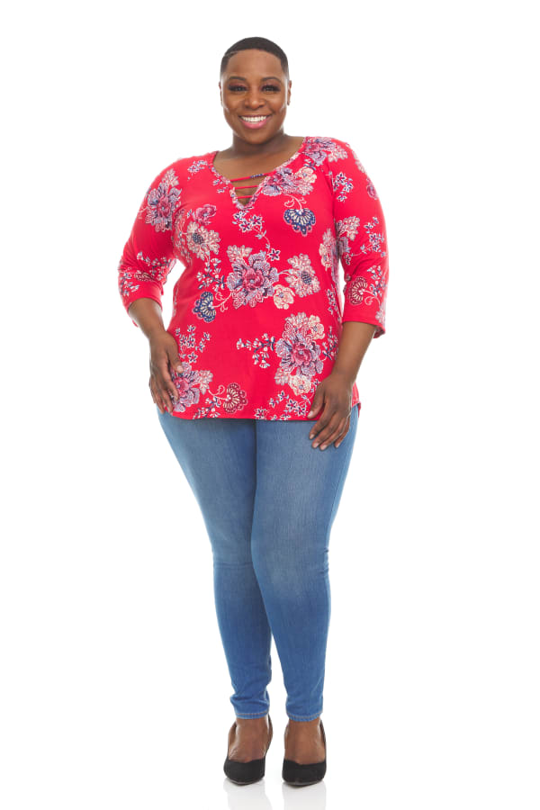 3/4 Sleeve Floral Strappy V-Neck Top - Plus