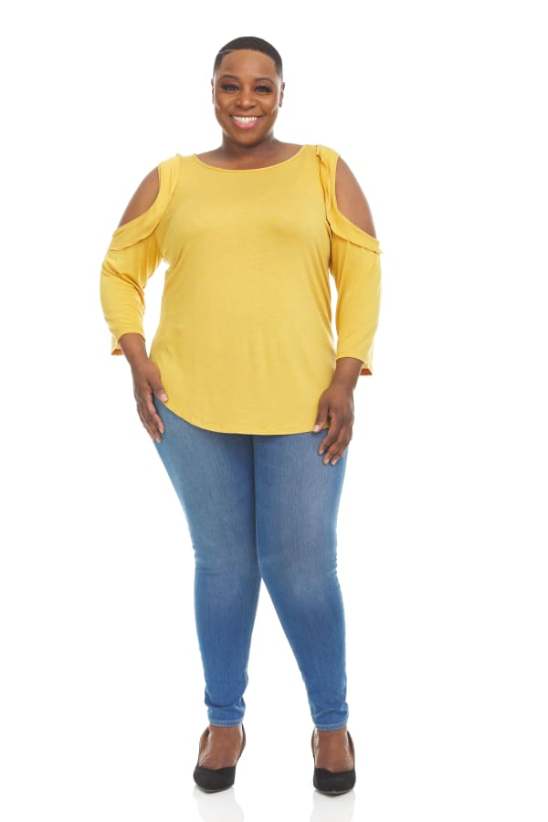 3/4 Sleeve Crew Neck Cold Shoulder with Ruffles Top - Plus