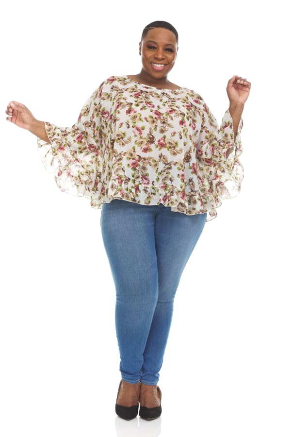 Printed Boho Top with Wide flared 3/4 Sleeves - Plus