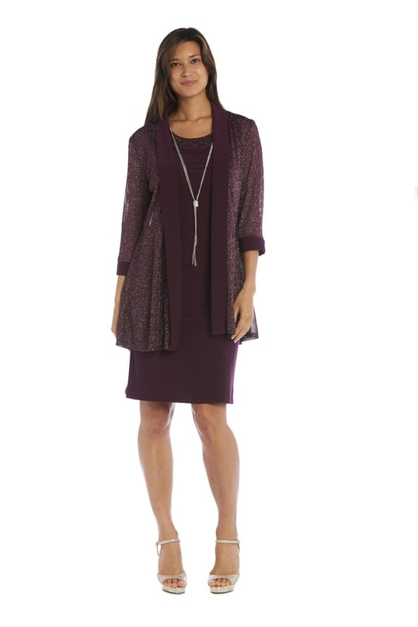 3/4 Sleeve Two Piece Jacket and Dress Set with Metallic Detail