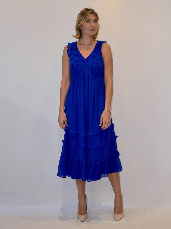 Mini Ruffle Hem Chiffon Dress
