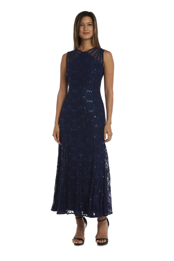 Sequined Lace Gown with Sheer Inserts