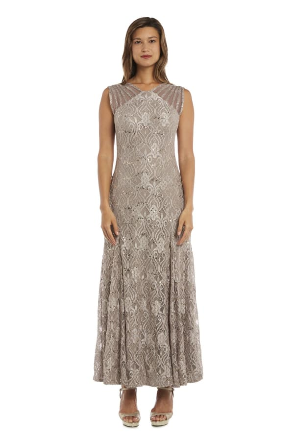 Sequined Lace Gown with Sheer Inserts - Champagne - Front