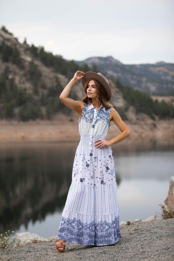 Adler Mixed Print Maxi Button Front Dress