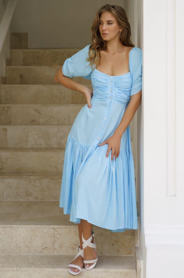 Lilit Midi Dress - Plus - Soft Blue - Front
