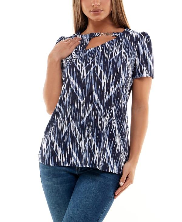 Adrienne Vittadini Short Sleeve Top  with Asymmetrical Keyhole