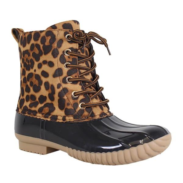 Yoki-Dylan Lace Up Leopard Rain Boot