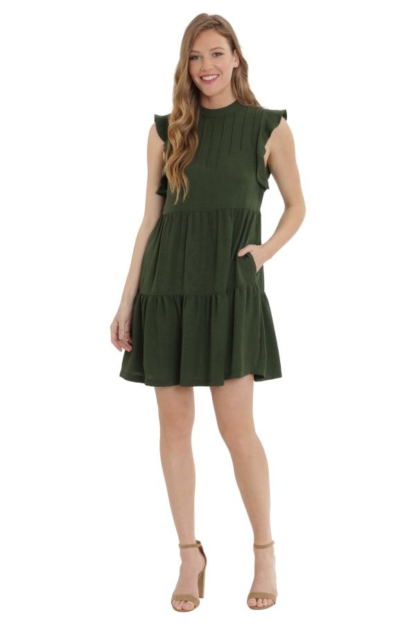 Jennifer Mock Polyester Pin-tuck Tiered Trapeze Dress