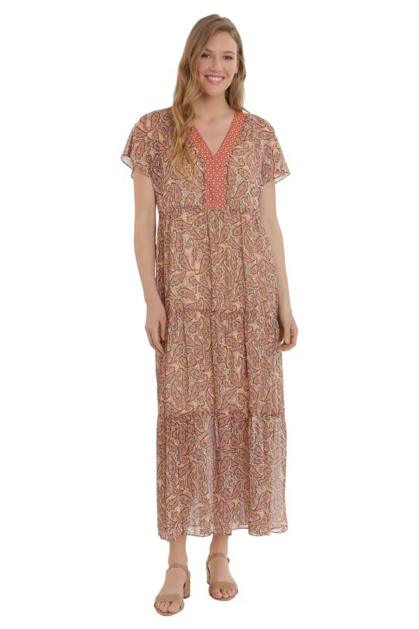 Alissa V-Neck Polyester Tiered Maxi Dress