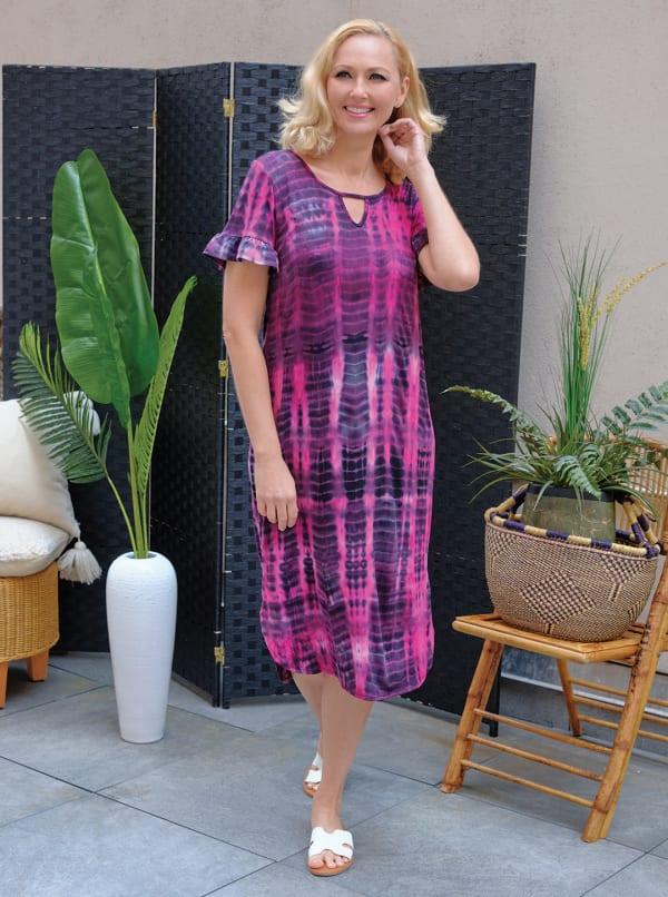 Pink Tie Dye Keyhole Dress