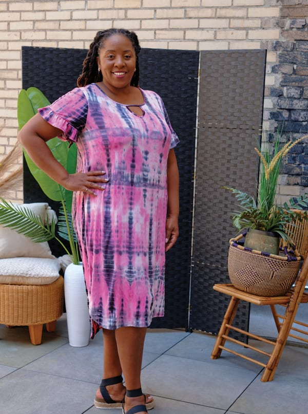 Pink Tie Dye Keyhole Dress - Plus