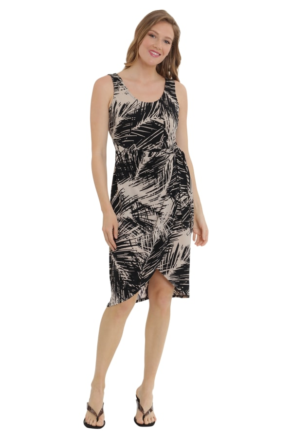 Alexa Scoop Neck Faux Sarong Dress - Petite