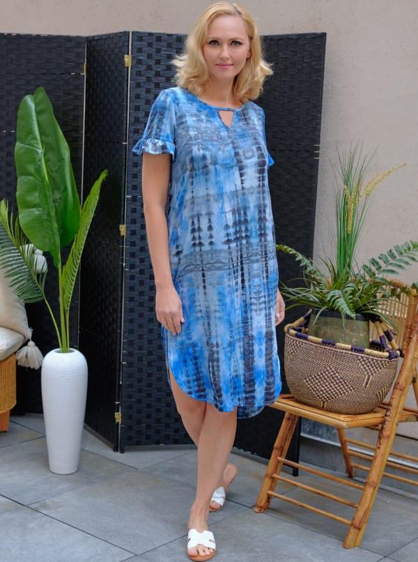 Denim Friendly Tie Dye Keyhole Dress