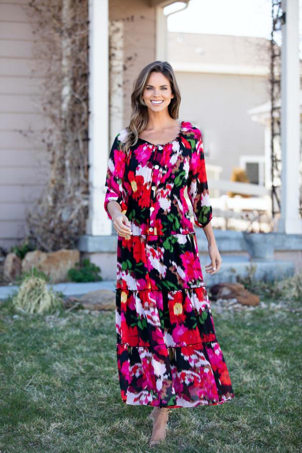 Veronica Blurred Floral Print Peasant Dress