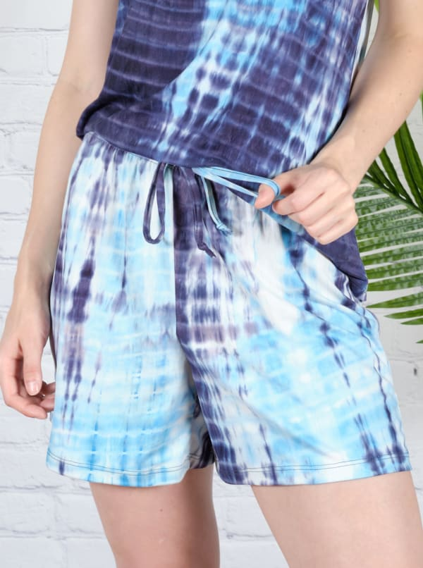 Blue Tie Dye Drawstring Short