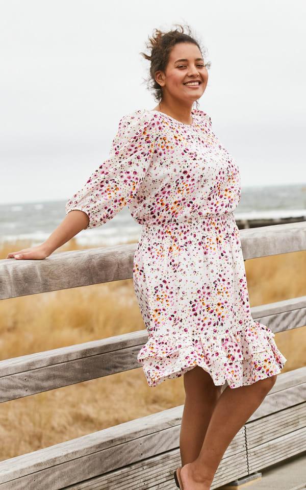 Mini Floral Knee Length  Dress - Plus