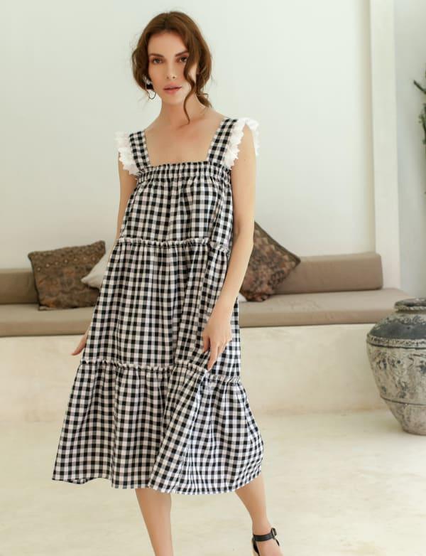 Meringue Summer Gingham Black Dress  - Plus