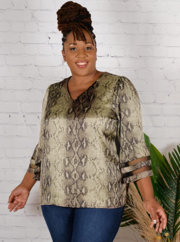 Wonder Blossom Animal Print Top With Mesh Insert At Sleeve