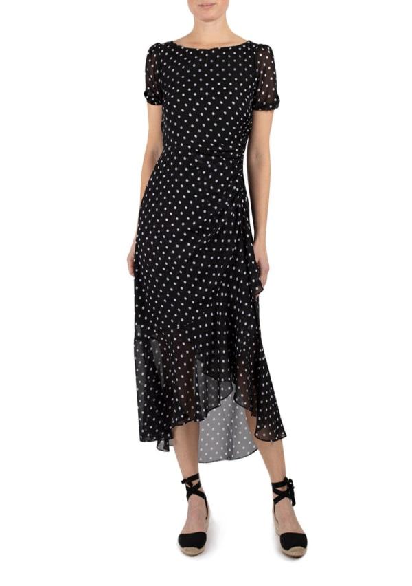 JJ Short Sleeve Ruffle Side Seam Dress