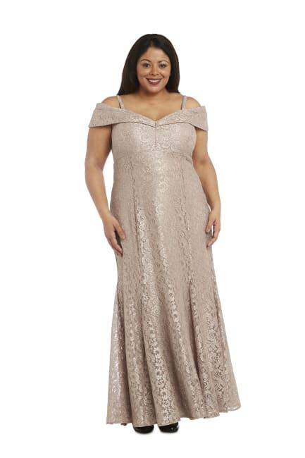 Off the Shoulder Glitter Lace Gown Godet Plts at Hem - Plus