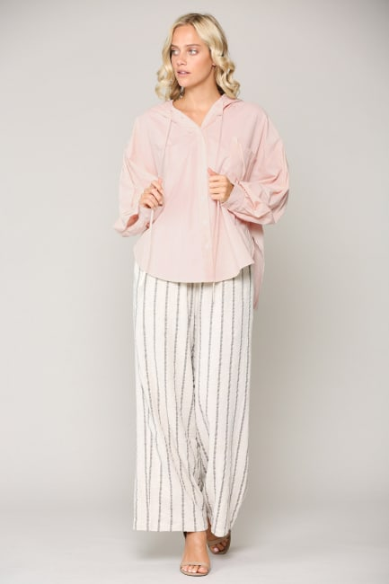 Willa Button-Front Hoodie Top