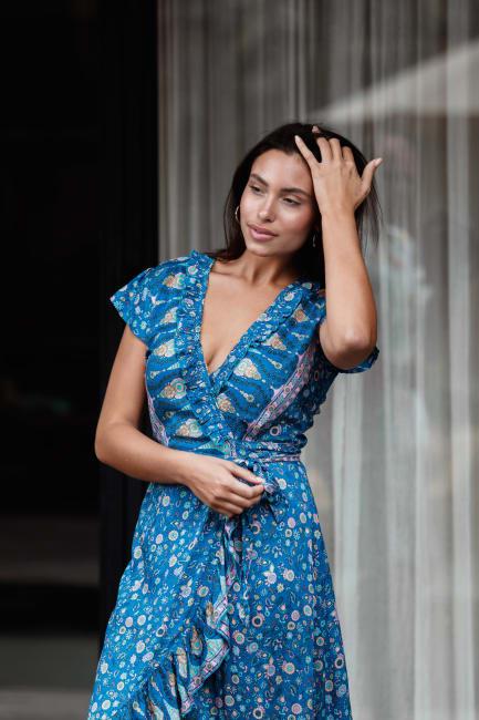Blue Wrap Maxi Dress