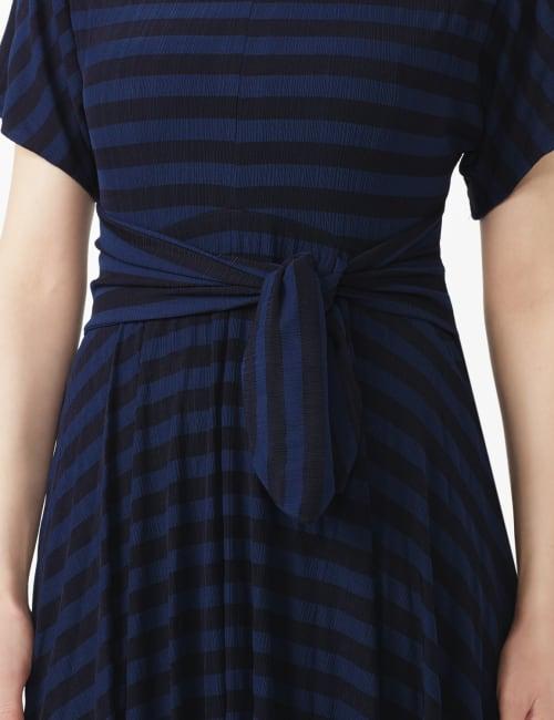 Tonal Stripe Tie Waist Sharkbite Hem Dress