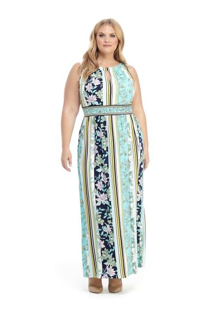 Keyhole Neck Floral Stripe Maxi Dress