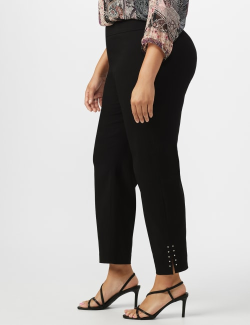 Solid Superstretch Tummy Panel Pull On Ankle Pants With Rivet Trim Bottom - Plus