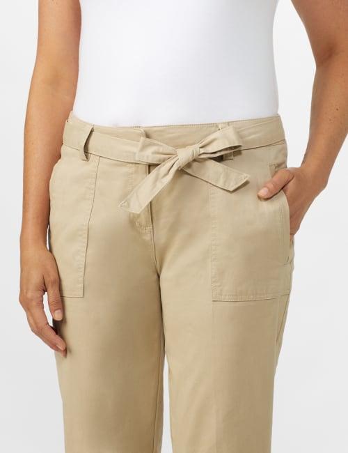 Garment Washed Twill Rolled Hem Tie Waist Pants