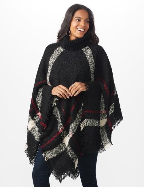 Plaid Sweater Poncho - Misses
