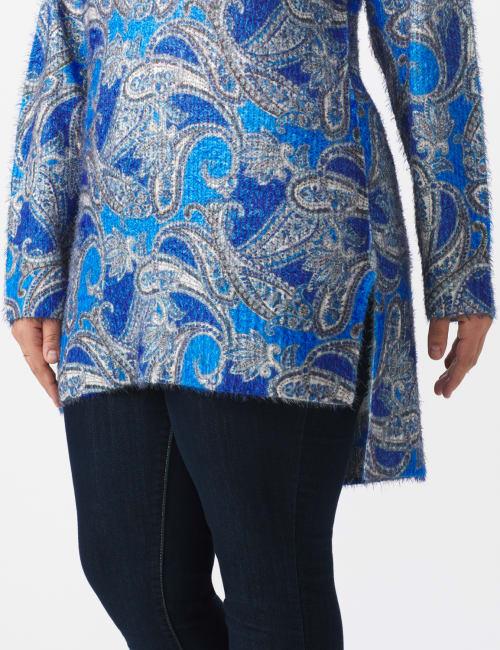 Paisley Eyelash Tunic Sweater - Plus