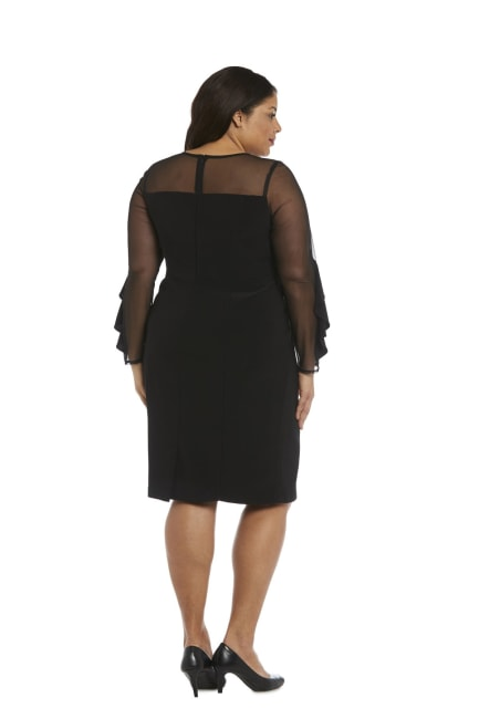 Knee-Length Dress with Sheer Details and Ruffled Sleeves - Plus