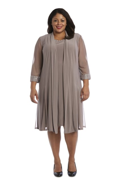 Embellished Shift Dress with Sheer Jacket - Plus