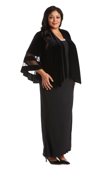 Waterfall Jacket with Sheer Band Butterfly Sleeves - Plus