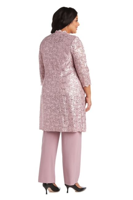Three-Piece Pant Set with Metallic Lace and Long-Line Jacket - Plus
